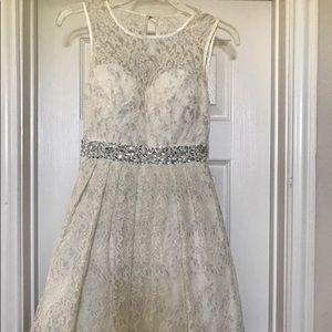 Cream and Silver Cocktail Dress